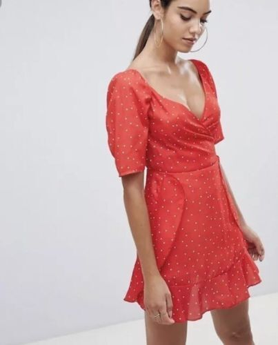 BNWT New Stunning MISSGUIDED Red Polka Dot Wrap Tea Dress Size 10 Look