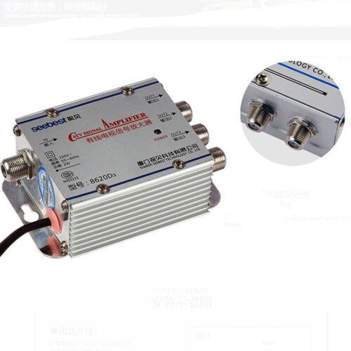 3 VIE 1 in 3 OUT CATV TV Via Cavo Splitter Amplificatore 20dB Ripetitore di segnale 45-860MHz