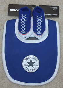 e93cd8c1c5f2 New! Baby Boys Girls Converse 3 pc Set (Infant Booties+Bib  Blue ...