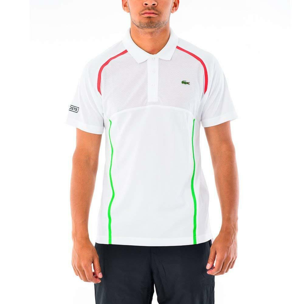 NWT Lacoste Sports Mens Ultra Dry Tennis Polo Shirt, White green red, size 9 4XL