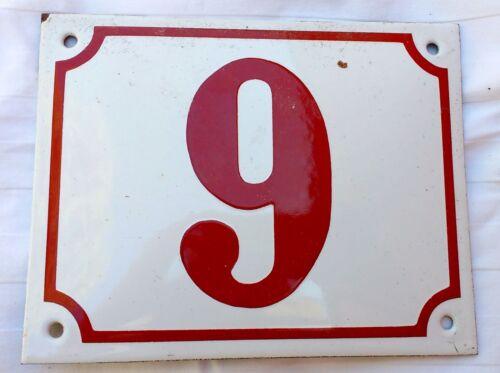9 83 26 Vintage Porcelain Enamel House Numbers 13A