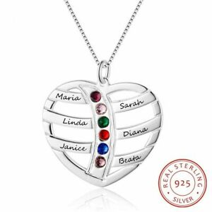 Family-Personalised-Birthstone-Jewellery-Real-925-Silver-Love-Heart-Pendant