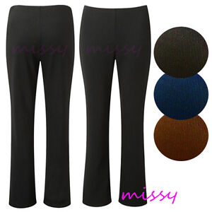 LADIES PACK OF 3 FINELY RIBBED BOOTLEG STRETCH TROUSERS SIZES 10-26 BLACK mpbj