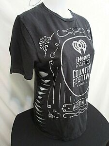 Details about I Heart Country Music Festival Cut Out Side Slits Black T Shirt Women's Sz S/M