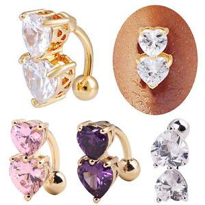 Womens-Jewelry-Rhinestone-Navel-Rings-Belly-Button-Bar-Ring-Dangle-Body-Piercing