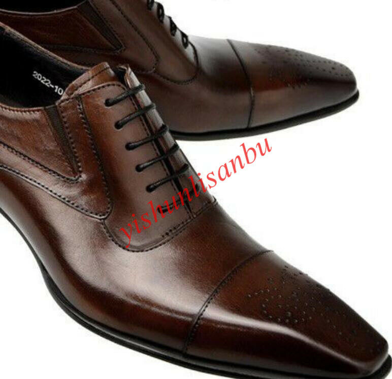 Lace Up Wedding shoes British Style Pointy Toe Genuine Dress shoes Business Size