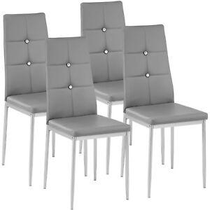 Dettagli su Set di 4 sedia per sala da pranzo tavolo cucina eleganti  moderne robusto grigio