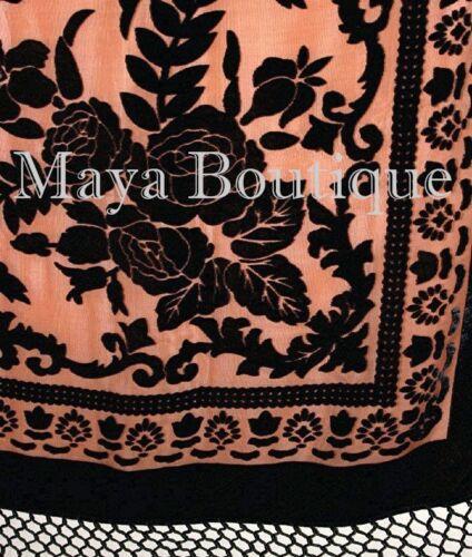 Silk Piano Shawl Wrap Scarf Burnout Velvet Tangerine /& Black Maya Matazaro