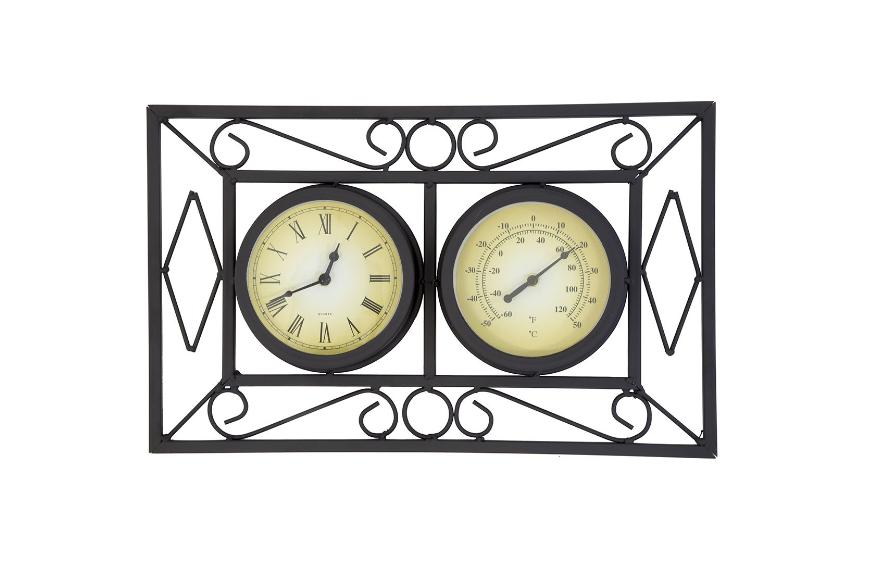 Bentley Garden Black Ornate Wall Frame Clock & Thermometer - customer returned