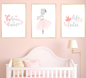 Ballerina Nursery Wall Art Print Set Kids Baby Girl Room ...