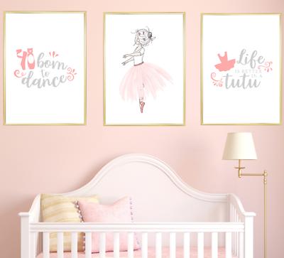 Ballerina Nursery Wall Art Print Set Kids Baby Room Decor Poster Pictures Ebay
