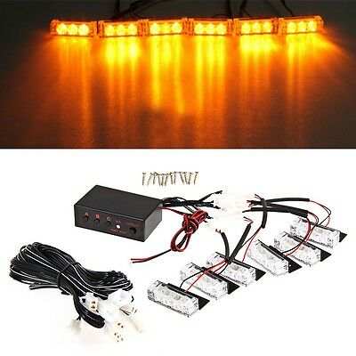 Car 18-LED Amber Strobe Emergency Flashing Police Warning Grill Light DC 12V 3W