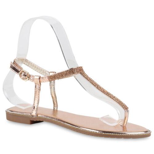 Damen Sandalen Flats Strass Metallic Zehentrenner Dianetten 817071 Schuhe
