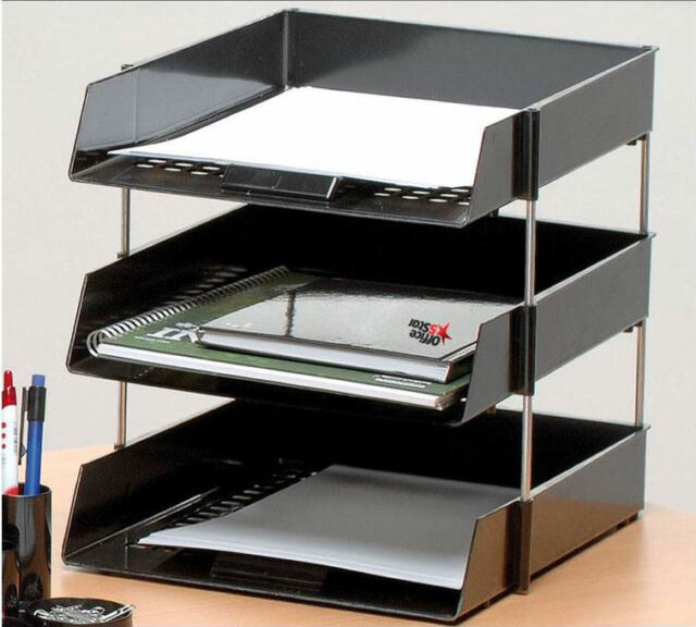 Astonishing 3 A4 Foolscap Letter Filing Desk Trays Black With 4 Risers In Out Paper Stacking Download Free Architecture Designs Oxytwazosbritishbridgeorg