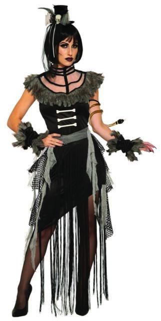 Adult Women/'s Voodoo Witch Black Magic Woman Halloween Costume Dress S M L XL