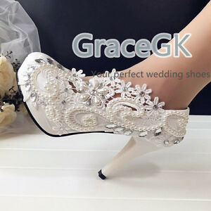 Image Is Loading Lace White Ivory Pearls Wedding Shoes Bridal Bridesmaid
