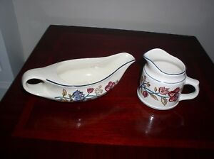 BOOTS-034-CAMARGUE-034-GRAVY-BOAT-AND-SAUCEBOAT-MILK-JUG-EARTHENWARE-BRITISH