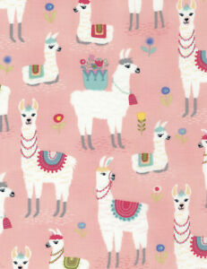 Fat-Quarter-Llamas-Pink-Cotton-Quilting-Sewing-Fabric