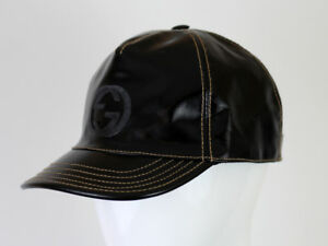 5030cacfe10 Image is loading GUCCI-WOMEN-039-S-BLACK-PATENT-LEATHER-HAT-