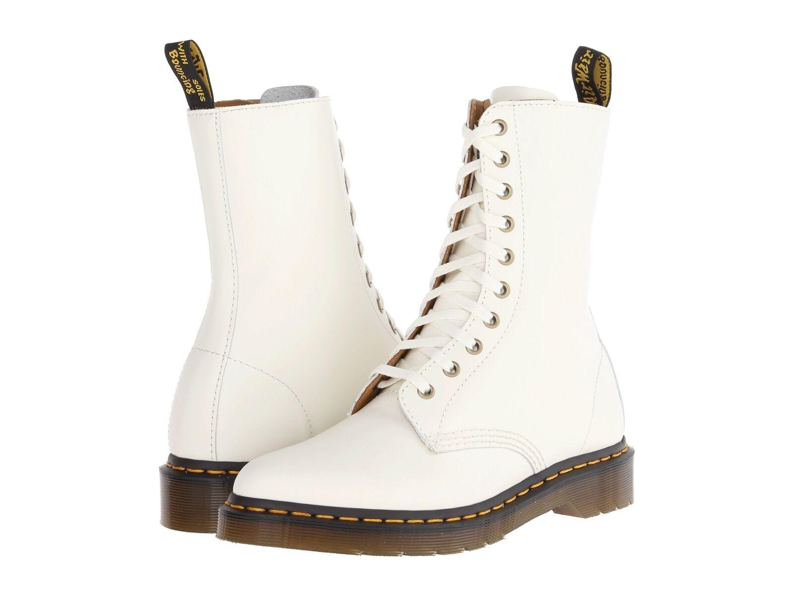 Dr. Martens  Women's Alix Pointy Toed 10 eye Zip White Boots US 9 EU 41 UK 7