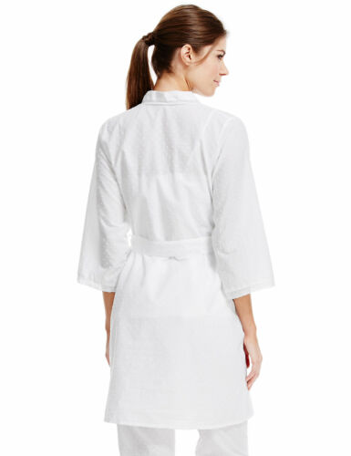 M /& S LA MAISON DE Senteurs Dobby puro cotone ricamato Bianco Con Cintura Wrap