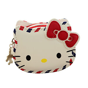 Hello-Kitty-Travel-Themed-Coin-Purse-White-Double-Compartment-Unique-Zipper-Pull