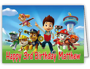 graphic relating to Paw Patrol Printable Birthday Card identify Information and facts in excess of Personalized Birthday Card with Paw Patrol Print - Any Standing  Age