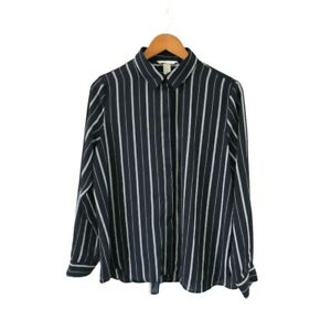 H-amp-M-Womens-Black-White-Striped-Shirt-Size-US-10-Long-Sleeve-Collared-Button-Up