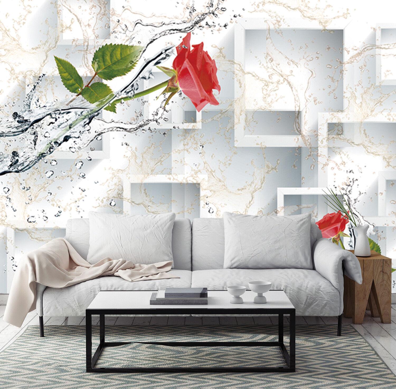 3D Blumen Wasser Gitter 863 Tapete Wandgemälde Tapeten Bild Familie DE Jenny