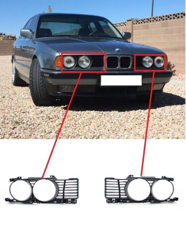 BMW 5 Series E34 Front LEFT RIGHT COVER HEADLITE GRILLE TRIM SET PAIR 1988-1994