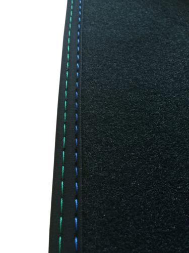 Passend für Alpina B10 5er E39 Fußmatten Velours anthrazit Deluxe Naht blau-grün