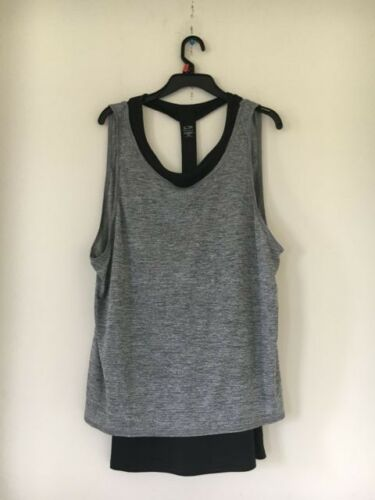 f0833fe00246c CHAMPION DUO DRY Gray Black Athletic Sexy Workout Top Women Size Xxl ...