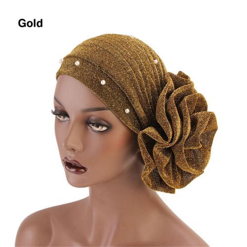 Fashion Women Big Flower Shiny Silk Muslim Hat Cancer Chemo Cap Gold Velvet Hat