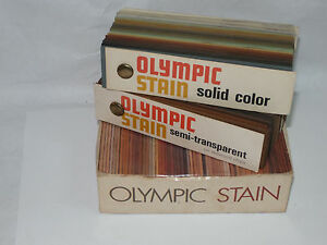 VINTAGE-1970s-OLYMPIC-STAIN-SAMPLES-ON-REDWOOD-CHIPS-SOLID-amp-SEMI-TRANSPARENT
