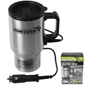 Montoya 12v Stainless Steel Heated Mug Car Van Caravan Thermal Heat Travel Cup 5055441432441
