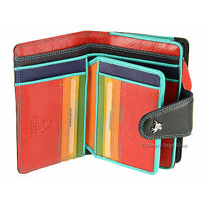 Visconti Soft Leather Womens Purse / Wallet In Black / Multi-Colour ( SP31 )