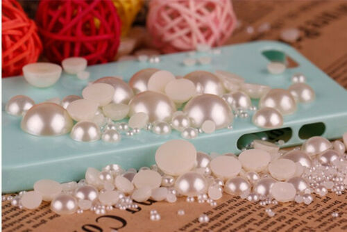white ivory Half Pearls Bead Flat Back scrapbook craft 2,3,4,5,6,8,10,12,14mm