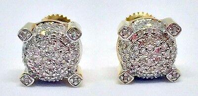 Mens Ladies 10K Yellow Gold 3D Circle Real Diamonds Domed Stud Earrings 0.34 Ct