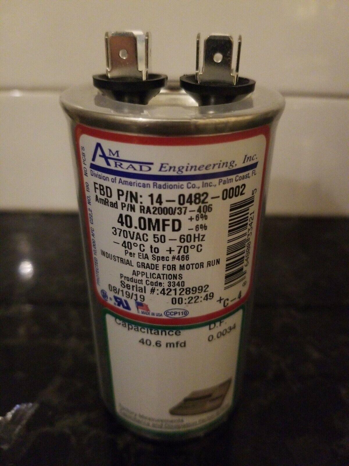 6/% 370 VAC//B Round Run Capacitor 50//60Hz Jard 325P356H37M26A4ZM9 35.0 uF //