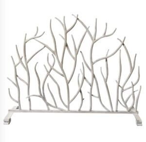 Details About Neiman Marcus White Twig Branch Fireplace Screen Firescreen Horchow Also I Gold