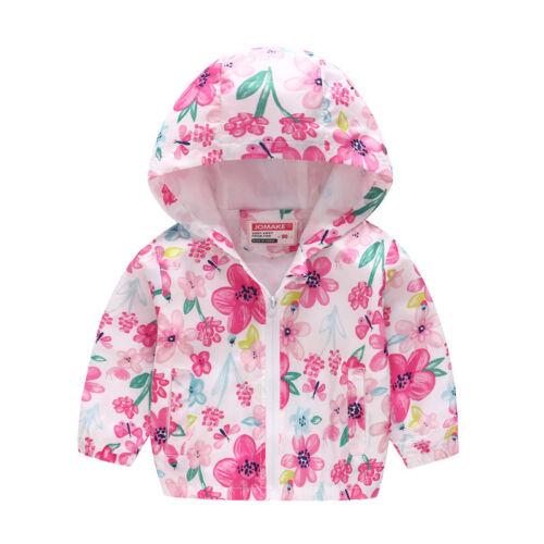 Kids Girls Boys Hooded Jacket Cartoon Coat Zip Up Hoodie Windbreaker Outerwear