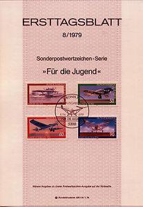 "BRD MiNr 1005-1008 ETB 8-79 ""Jugend 1979"": Flugzeuge - Freiburg, Deutschland - BRD MiNr 1005-1008 ETB 8-79 ""Jugend 1979"": Flugzeuge - Freiburg, Deutschland"