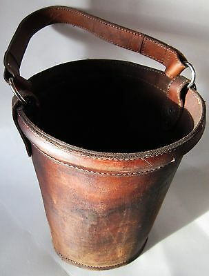 "Vintage Leather Fire Bucket 11"" tall by 8"" in Diameter"