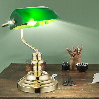 Retro Nostalgische Tischleuchte Messing grüner Bibliothek Leselicht Banker Lampe