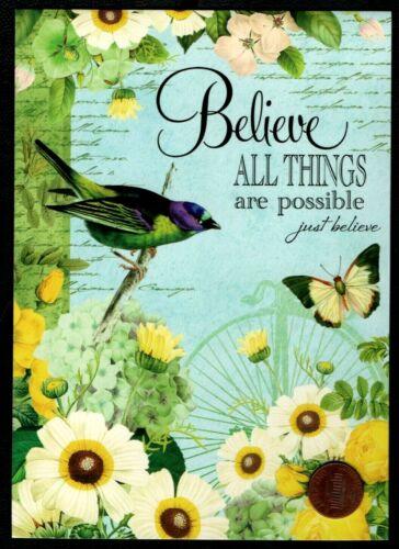 Birthday Greeting Card Birthday Bird Butterfly Flowers  MARK 10:27 Religious