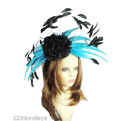 Turquoise and Black  Fascinator Hat for Weddings/Ascot WIth Headband