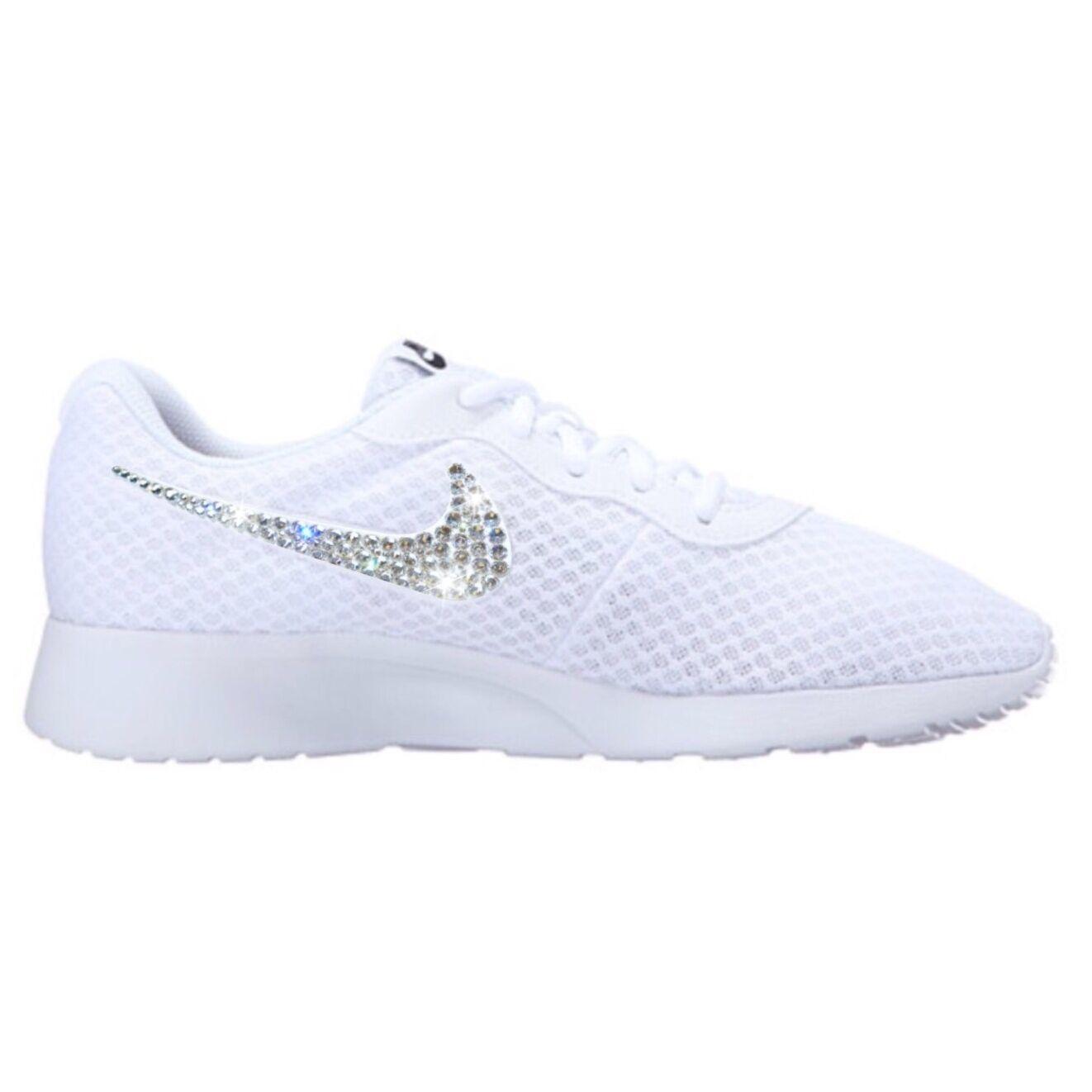 Bling Nike Tanjun shoes with Swarovski Crystal Diamond Rhinestone - White