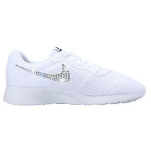 Bling Nike Tanjun Shoes with Swarovski Crystal Diamond Rhinestone - Black White