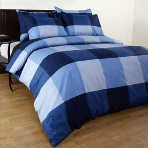 Single-Double-Queen-King-Super-King-Size-Bed-Quilt-Duvet-Cover-Set-Blue-Check