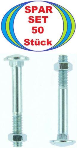8x65 Flat Round Screws DIN 603 MU 50 Piece M8 x 65 Lock Bolts with Nut